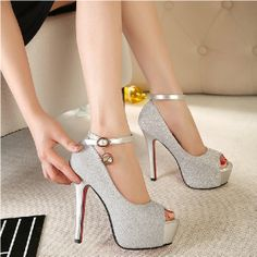 Ultra high heels princess platform thin heels women pumps shoes sexy open toe sandals wedding shoes US $22.85