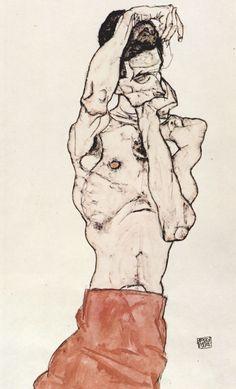 Autor: Egon Schiele Desconstrução e traço em preto