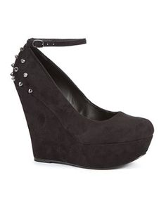 Black (Black) London Rebel Black Spike Heel Court Wedges | 262096601 | New Look