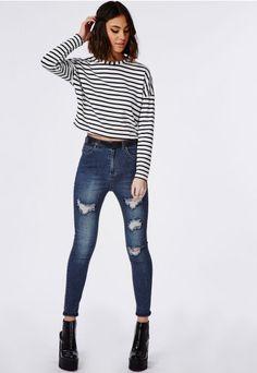 Jean skinny taille haute déchiré Edie indigo - Jeans - Missguided