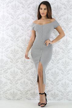 Zipper Off Shoulder Midi Dress