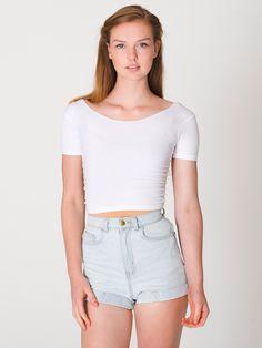 American Apparel - Cotton Spandex Jersey Crop Tee Crop Shirt, T Shirt,  Cotton Spandex b1cc8db4ce76