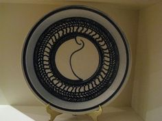 Cobalt blue 32 cm porcelain plate.        By Wendy Swan.