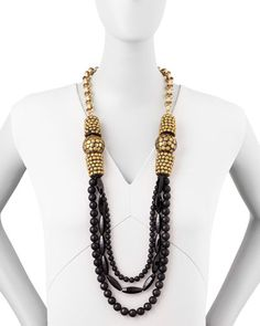"Devon Leigh Black Onyx Multi-Strand Necklace, 40"""