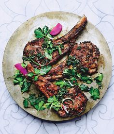 The mint-y, pesto-like sauce spooned over these chops is a great alternative to mint jelly.