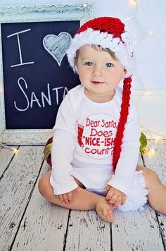 Baby girl Christmas onesie/bodysuit, funny, Dear Santa, holiday clothing, photo prop