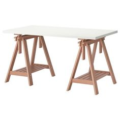 Ikea Linnmon Gray Desk Table with 2 Birch Brown Wood Trestle Shelf Legs Height and Angle Adjustable, Drawing Table. Product Name: Ikea Linnmon Gray Desk Table with 2 Birch Brown Wood Trestle Shelf Legs Height and Angle Adjustable, Drawing Table. Ikea Inspiration, Table Bar, Table Desk, Ikea Table, Ikea Linnmon, Grey Desk, Trestle Table, Trestle Legs, Office Table