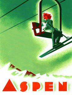 """Aspen"" by illustrator Laura Smith. Aspen Ski, Aspen Colorado, Ski Posters, Sports Posters, Re Animator, Graphic Illustration, Illustrations, Typography Inspiration, Vintage Travel Posters"