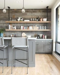 Moore Bar Stool + Gray kitchen cabinets with light wood floors Classic Kitchen, New Kitchen, Kitchen Decor, Stylish Kitchen, Awesome Kitchen, Beautiful Kitchen, Kitchen Layout, Cozy Kitchen, Kitchen Modern