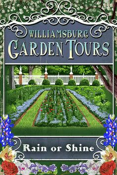 Williamsburg, Virginia - Garden Tours Vintage Sign - Lantern Press Poster