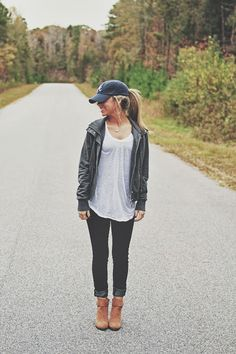 Atlanta braves baseball cap + silver hoop earrings + easy marled moto jacket + BDG washed v-neck tee