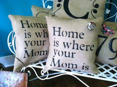 Approx. 12 wide and 18 tall. Home is where your mom is. This would make a cute mothers day gift. Comes with a burlap flower pin.        mothers day