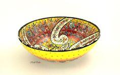 Turkish Ceramic bowl sun yellow unique and original! Oriental ceramics at kultdeko! Keramikschale Türkei in meinem Etsy-Shop https://www.etsy.com/de/listing/224979343/keramikschale-keramik-orient-schale