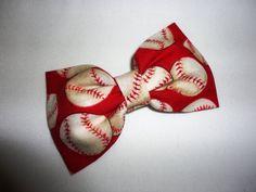 Preppy Softball Baseball Red Hair Bow by SashaBowtique on Etsy, $5.00