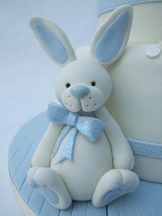 bunny figurine cake topper - blue