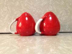 Vintage Red Salt and Pepper Hall's Pottery Pert Sani Grid Art Deco Chinese Red Kitchenware by ThePinkVintageRose on Etsy