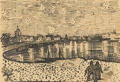 Starry Night, The - Vincent van Gogh . Created in Arles in Located at Van Gogh Museum. Find a print of this Letter Sketches Vincent Van Gogh, Van Gogh Drawings, Van Gogh Paintings, Monet, Desenhos Van Gogh, Van Gogh Arte, Van Gogh Pinturas, Gogh The Starry Night, Oil Paintings