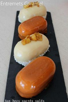 sablé breton, insert caramel, pommes caramélisées, mousse caramel