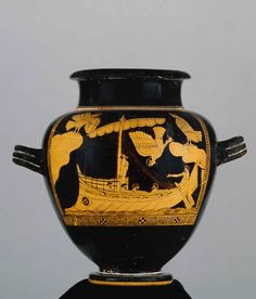 The Siren Vase, Pottery: red-figured stamnos. The ship of Odysseus passing the Sirens. C. 480BC-470BC Attributed to The Siren Painter. Greece © The Trustees of the British Museum