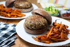 The best black bean burgers you've ever eaten with baked chipotle sweet potato fries