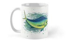 "Coffee Mug • ""Mahi Mahi Splash"" - Watercolor art of a bull mahi, (aka dolphin fish or dorado) by Amber Marine ••• AmberMarineArt.com ••• ©"