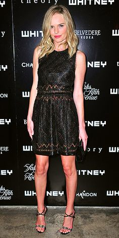KATE BOSWORTH  Kate makes a sparkling statement in a custom Theyskens' Theory LBD and strappy sandals at a Whitney Museum of American Art party in New York City.