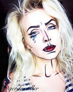 Pin for Later: Pop-Art Makeup Ideas So Good, They Actually Look Like Cartoons Costume Halloween, Pop Art Costume, Costume Makeup, Halloween Makeup, Halloween Inspo, Pop Art Makeup, Crazy Makeup, Eye Makeup Tips, Makeup Looks