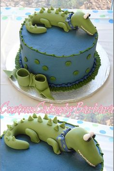 alligator cake... Add a party hat