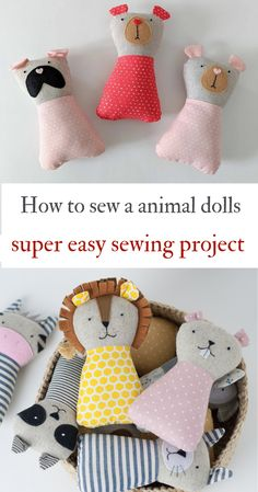Animal doll sewing patterns PDF tutorial Animal stuffed Handmade toys fabric Animal gift Fabric toys for kids DIY Beginner sewing easy #sewingprojects #diy #diytoys #softtoys