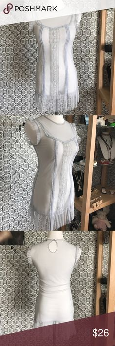Lily white nwot light grey/silver blouse Absolutely stunning never worn grey/silver see through elegant tank style blouse Lily White Tops Blouses