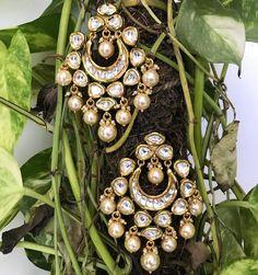 Diamond Jewelry Kundan Chandbali with Pearl Drops - Indian Jewelry Sets, Indian Wedding Jewelry, India Jewelry, Bridal Jewelry, Gold Jewelry, Gold Necklaces, Fancy Jewellery, Diamond Jewelry, Jewelry Design Earrings