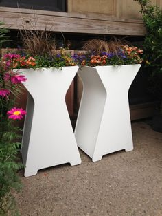 This modern flower pot from Loll Designs makes the perfect planter box for an entryway. and available in 10 colors. Outdoor Planter Boxes, Garden Planters, Stainless Steel Fasteners, Modern Planters, Make Happy, Flower Pots, Flowers, Container Gardening, Hourglass