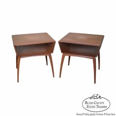 Heywood Wakefield Champagne Mid Century Modern Maple Pair of Side Tables #MidCenturyModern