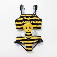 Kavkas Newborn Baby Girls One Piece Cartoon Bee Insect Embroidery Kids Girls Baby Boy Swimwear, Baby Girl Swimsuit, Kids Swimwear, One Piece Cartoon, Kids Bathing Suits, Cartoon Bee, Black Baby Girls, Baby Girl One Pieces, Bee Design