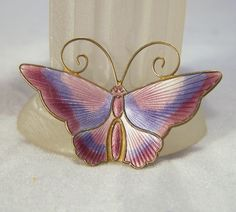 David Andersen Pink and Lavender Enamel Butterfly Brooch