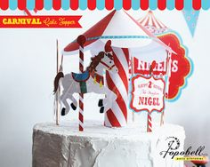 Circus Cake Topper for Circus Birthday Party. Carousel by Popobell