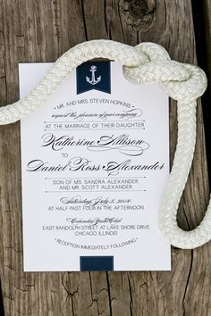 Nautical wedding invitations, navy and blue, anchors aweigh // Timothy Whaley & Associates