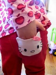 wonder if I can do this to Allie's pants with a piece of felt. She loves Hello Kitty.