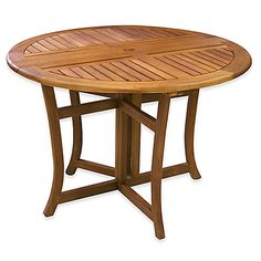 Outdoor Interiors Eucalyptus Outdoor Round Folding Table in Brown Umber - bedbathandbeyond.com