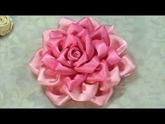 ▶ How to Make Kanzashi Flower, Ribbon Rose,Tutorial, DIY - YouTube
