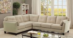 "Peever II Sectional Sofa -  CM6368BG for $825  Description :  Add some modern charm to your home with this flannelette living room sectional. The tufted cushions provide visual interest while the slightly angled back and armrests offer the best setting for long movies or gatherings. Available in 3 color options.  Features :  Contemporary Style Tufted Cushions Cushioned Inside Armrests Flannelette Fabric Available in 3 Colors Beige Dimensions :  Sectional Sofa : 105 1/4""L X 82 1/4""W X 32…"