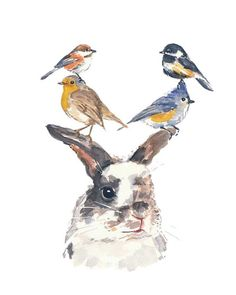 Rabbit and Bird Watercolor PRINT  5x7 by WaterInMyPaint on Etsy