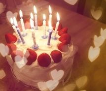 Birthday cake wish With the cake in front of you take a deep