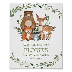 Shop Woodland Animals Greenery Baby Shower Welcome Sign created by LollipopParty. Baby Shower Welcome Sign, Baby Shower Thank You, Baby Shower Favors, Baby Shower Parties, Baby Boy Shower, Baby Shower Decorations, Shower Party, Baby Showers, Woodland Baby