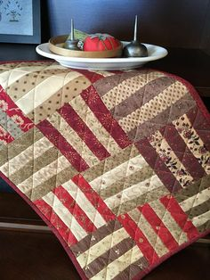 Rail Fence Antique Reproduction Primitive Handmade Doll Quilt Tea/Coffee Aged