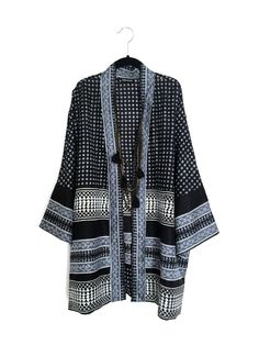 Silk Kimono jacket black and grey, petites shorter fit, with an Indian border print