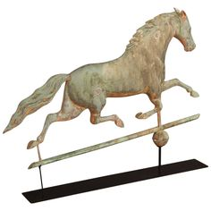 Running Horse Weathervane | From a unique collection of antique and modern weathervanes at https://www.1stdibs.com/furniture/folk-art/weathervanes/