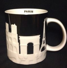 Starbucks Paris City Mug Collector Relief Louvre Eiffel Tower Notre Dame Arc #Starbucks #paris