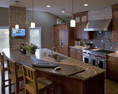 my dream kitchen....Remodeled Rustic Kitchen, Mountain Lodge Design and Built in Coffeemaker Pictures