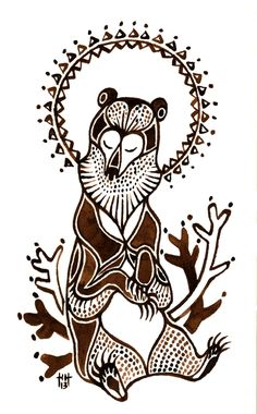 """goldisblood: """" """"Kalevankarhu"""" The bear (karhu in Finnish), King of the Forest, was the most respected animal of the ancient Finnish forests and still is today. The Birth of the Bear is a very old, probably paleolithic myth having it's roots in. Finnish Tattoo, Nordic Tattoo, Bear Totem, Embroidery Tattoo, Scandinavian Folk Art, Bear Art, Ink Illustrations, Spirit Animal, Marimekko"""